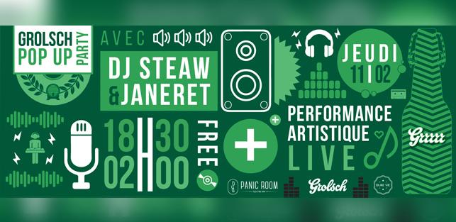 SLIDER Grolsch Pop Up Party Panic Room Jeudi 11 Fevrier 2016 DJ STEAW JANERET VINC HARD KYLAM